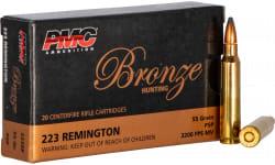 PMC 223SP .223 Remington 55 SP - 200 Round Mini Case of .55 Grain Soft Point Ammunition - PMC Bronze Soft Point - 200