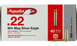 Aguila 1B222400 Silver Eagle 22 WMR 40 GR Jacketed Soft Point - 50rd Box