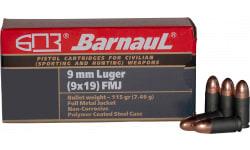 Barnaul 9MM Luger Case,  FMJ 115 Grain, Non-Corrosive, Steel Cased, 50 Rounds / Box - 500 Round Case