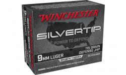 Winchester Ammo W9MMST Case 9mm 115 Grain Silver Tip, Hollow Point, Brass Cased, Reloadable Defense Ammunition - 200 Round Case