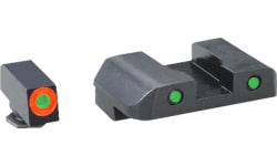 AmeriGlo GL446 Spartan Operator Night Sight Glock 17/19/22/23/24/26/27/33/34/35/37/38/39 Steel Green w/Orange and Black Outline