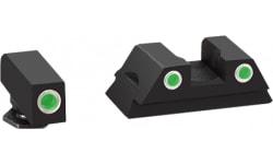 AmeriGlo GL430 Classic 3 Dot Night Sight Glock 42/43 Tritium/Paint Green w/White Outline Black