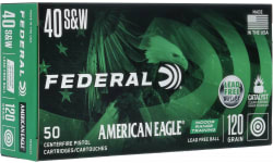 Federal American Eagle 40S&W 120 Grain Lead Free Indoor Range Ammo - Brass, Boxer, N/C - 500 Round Case