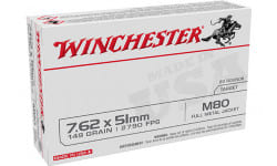 Winchester Ammo WM80 USA Case, 7.62x51mm NATO 149 GR Full metal Jacket Lead Core (FMJLC) - 20 Rds / Box - 500 Round Case