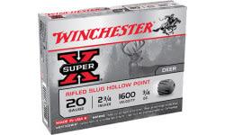 "Winchester Ammo X20RSM5 Super-X 20GA 2.75"" 3/4oz Slug Shot - 5sh Box"