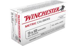 Winchester Ammo MC918M Metric 9x18 Makarov 95 GR Full Metal Jacket - 50rd Box