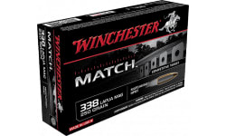 Winchester Ammo S338LM Match 338 Lapua Magnum 250 GR Boat Tail Hollow Point - 20rd Box