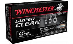 Winchester Ammo W45LF Super Clean 45 ACP 165 GR FMJ, Brass, Boxer, Non-Corrosive - 500 Round Case