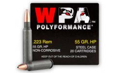 Wolf Performance .223, 55 GR HP Steel Cased Ammo - 500 Round Case