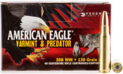 Federal AE308130VP American Eagle 308 Winchester/7.62 NATO 130 GR Jacketed Hollow Point - 200 Round Case