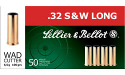 Sellier & Bellot SB32SWLB Handgun 32 Smith & Wesson Long 100 GR Wadcutter - 50rd Box