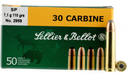 Sellier & Bellot SB30B Rifle 30 Carbine 110 GR Soft Point -1000rd Case