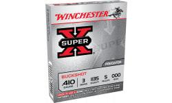 """Winchester Ammo XB413 Super-X 410GA 3"""" Copper-Plated Lead 5 Pellets 000 Buck - 5sh Box"""