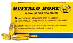 Buffalo Bore Ammunition 20.5A/20 38S&W (38 New Colt Police) 125 GR Hard Cast Flat Nose - 20rd Box
