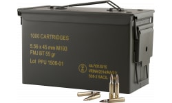 PPU - Rangemaster - Mil-Spec M193 Metal Can - 5.56 NATO - 55 GR FMJ Boat Tail, Brass, Boxer, Non-Corrosive, Reloadable - 1000 Round Case - PPN5561MC