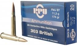 PPU PP303F Standard Rifle 303 British 174 GR Full Metal Jacket - 20rd Box