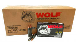 Wolf Performance 308FMJ .308 Winchester 150 GR Ammo, Non-Corrosive, Coated Steel Casings - 500 Round Case