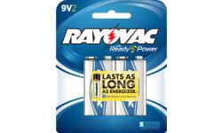 Rayovac A1604-2J Alkaline 9 Volt Batteries 2 Pack Card