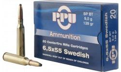 PPU PP30061 Metric Rifle 6.5x55 Swedish 139 GR Soft Point - 20rd Box