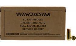Winchester Ammo .380 ACP, 95 Grain Brass Case FMJ-FN Bullet , Brown Box Service Grade - 50rd Box