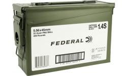 Federal XM193ML1X 5.56 55 FMJ Boat Tail *CS* - 400rd Case