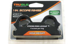 "1"" Scope Rings 4 Screws Per Ring High Height Weaver/Picatinny Rail mount - Black - TG8961B2"