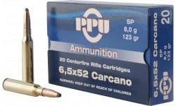 PPU PP3083 Metric Rifle 6.5x52mm Carcano 123 GR Soft Point - 20rd Box