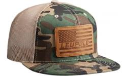 Leupold 172593 Leupold Leather Flag Trucker HAT CAMO/KHAKI