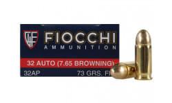 Fiocchi 32 ACP, 73 Grain FMJ, Brass, Boxer, Non-Corrosive -  1000rd Case