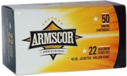 Armscor Ammo .22WMR 40GR. Jacketed Hollow Point 50-PACK - 50rd Box