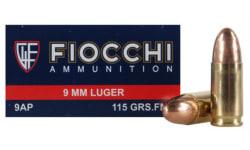 Fiocchi Pistol Ammunition 9AP, 9mm, Full Metal Jacket (FMJ), 115 GR, 1200 fps, 50 Rds / Box