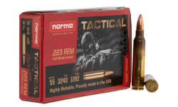 Norma Tactical 295040020 .223 Rem 55 GR, FMJ, Brass Case, Re-Loadable, Premium Grade - 500rd Case