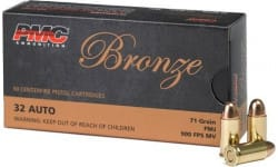 PMC 32A Bronze 32 ACP Target Ammunition, 71 GR FMJ, Brass Cased - 50 Rounds / Box - 1000 Round Case