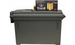 Sterling - 9mm Luger FMJ Ammunition,115 Grain, Brass Case, Boxer Primed, Non Corrosive, Reloadable - 500 Rounds In A Reusable Ammo Can - STER9-500
