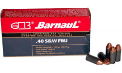 Barnaul .40 S&W Case,  FMJ 165 Grain, Non-Corrosive, Poly-Coated Steel Case, 50 Rounds / Box - 500 Round Case