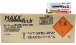 MaxxTech 9mm 115gr FMJ Brass Cased, Non-Corrosive, Boxer Primed, Fully-Reloadable - 1000rd Case - PTGB9MMB