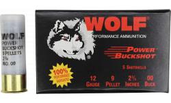 """Wolf Power Buck Shot Case, 00 Buck 9 pellet 12 Gauge, 2-3/4"""", 120 Rounds Per Case"""