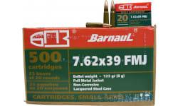Barnaul 762X39FMJ123, 7.62x39 Ammunition, 123-Grain, FMJ, 500 Round Case - Non Corrosive
