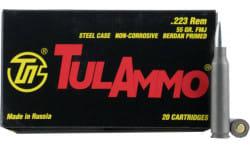 Tulammo -  .223 Remington 55 GR Full Metal Jacket Centerfire Rifle Ammunition, Non-Corrosive - 20 Rds / Box - Russian Tula Ammunition -  TA223550