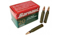 Barnaul 223 REMFMJ55 -  .223 Remington Ammunition,  55 Grain, FMJ Coated Steel Case, Non-Corrosive - 500 Round Case