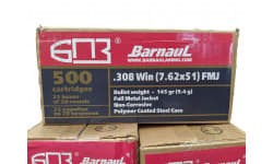Barnaul .308 Win, 500 Round Case - 145 Grain FMJ Poly-Coated Steel Case - N/C 500 Rounds - BRN308WIN145FMJ