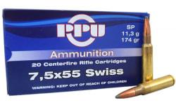 Prvi Partizan 7.5mm Schmidt-Rubin (7.5 x 55 Swiss) 174 Soft Point Ammo - 20rd Box