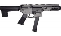 "Brigade MFG BM-9 Forged Receiver 9mm AR Pistol 5.5"" Barrel 5"" U-Rail, Tungsten Grey Cerakote Finish, M-2 Adjustable KAK Brace - W / 1-33 Rd O.E.M. Glock Magazine"