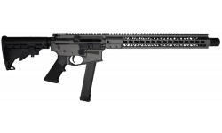 """Brigade MFG BM-9 Forged 9mm AR Rifle 16"""" Barrel 15"""" U-Rail, Tungsten Grey Cerakote Finish, Adjustable 6 Position Stock - W / 1-33 Rd O.E.M. Glock Magazine"""