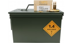 OMPC New Production 5.56 NATO Rifle Ammo, 62 Grain FMJ, Brass, Boxer, Reloadable, N/C, Mil Spec, Steel Core, SS109 Penetrator FMJBT- 800 Round Can