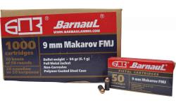 Barnaul 9X18 Makarov - 94 Grain FMJ Ammunition - PolyCoated Casing - 50 Rounds/Box - 1000 Round Case
