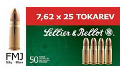 Sellier & Bellot 7.62x25 85 GR FMJ Ammo - 50rd Box