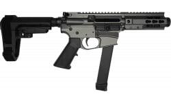 "Brigade MFG BM-9 Billet 9mm AR Pistol 5.5"" Barrel 5"" U-Rail, Tungsten Grey Cerakote Finish, SBA3 Adjustable Pistol Brace - W / 1-33 Rd O.E.M. Glock Magazine"
