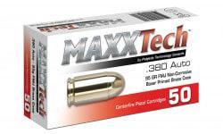 MaxxTech 380 ACP 95gr FMJ Brass Cased, Non-Corrosive, Boxer Primed, Fully-Reloadable - 50rd Box - PTGB380B