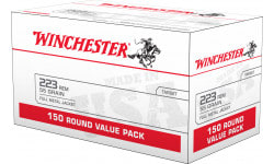 Winchester Ammo .223 Remington 55gr FMJ - Boxer Prime, Brass Cased, Fully Reloadable - 600 Round Case - USA223L1
